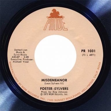 Foster Sylvers Misdemeanor Disk Label song of the day the face radio