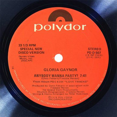 Gloria Gaynor Anybody Want Party Disk Label song of the day the face radio
