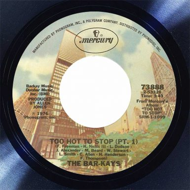 The Bar-Kays Too Hot to Stop Disk Label Song Of The Day The Face Radio