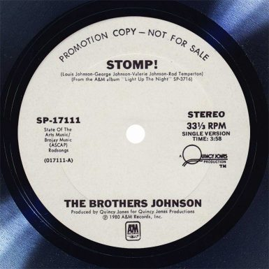 The Brothers Johnson Stomp Disk Label Song Of The Day The Face Radio