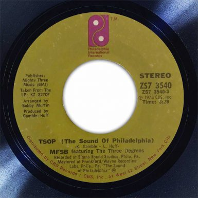MFSB TSOP Disk Label Song Of The Day The Face Radio