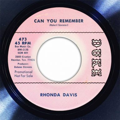 Rhonda Davis Can You Remember Disk Label Song Of The Day The Face Radio