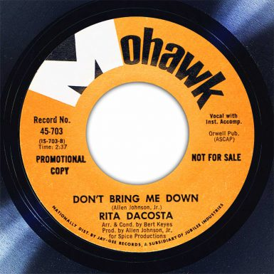Rita DaCosta Don't Bring Me Down Disk Label Song Of The Day The Face Radio