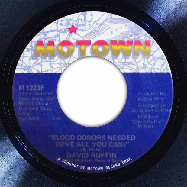 David Ruffin Blood Donors Needed Disk Label Song Of The Day The Face Radio