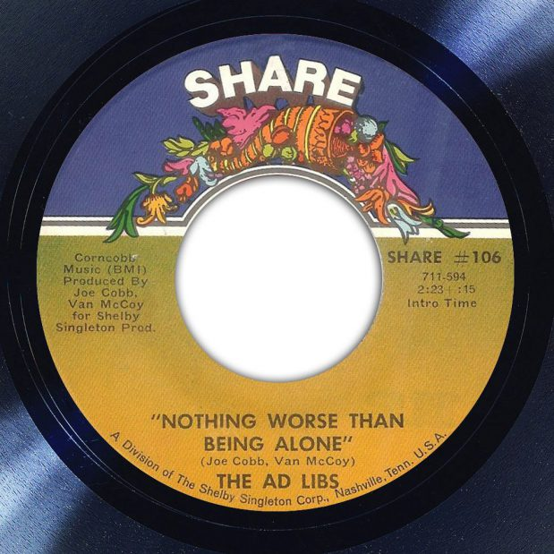 The Ad Libs Nothing Worse Than Being Alone Album Label The Face Song Of The Day
